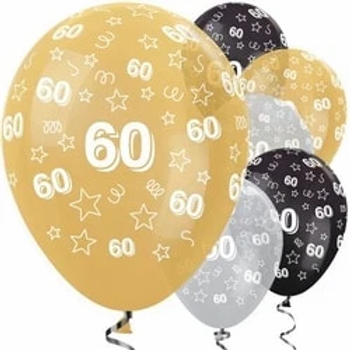 60th Gold Mix Stars Latex Party Balloons