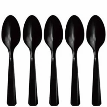 Black Reusable Plastic Spoons