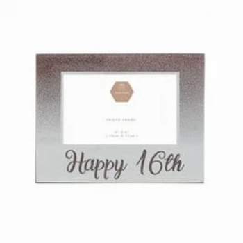 Happy Birthday Milestone Rose Gold Glass Photo Frames 16th