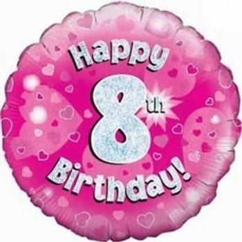 "Happy 8th Birthday 18"" Foil Balloon Pink"
