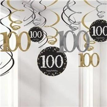 100th Birthday Party Hanging Swirls Gold