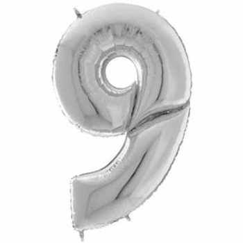 """64"""" Foil Number 9 Balloon Silver"""