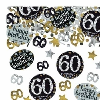 60th Happy Birthday Gold Sparkling Party Table Confetti