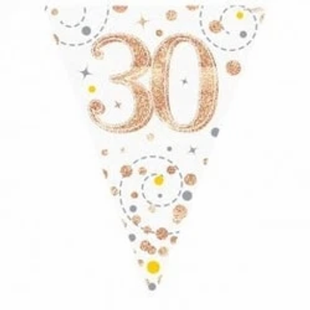Happy 30th Birthday Rose Gold Party Flag Bunting