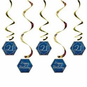 21st Navy And Gold Birthday Hanging Swirls