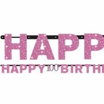 100th Prismatic Party Letter Banner Pink