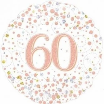 Happy 60th Birthday Rose Gold Foil Balloon