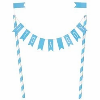Baby Shower Bunting Cake Topper Blue