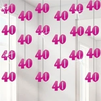 40th Pink String Decorations