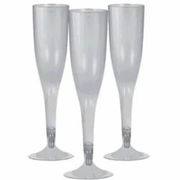 Silver Plastic Champagne Flutes