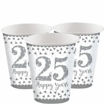 25th Silver Sparkling Wedding Anniversary Paper Cups