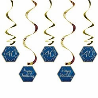 40th Navy And Gold Birthday Hanging Swirls