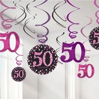 50th Pink Party Hanging Swirls