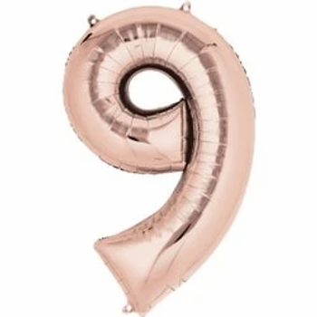"Rose Gold 34"" Foil Number 9 Balloon"