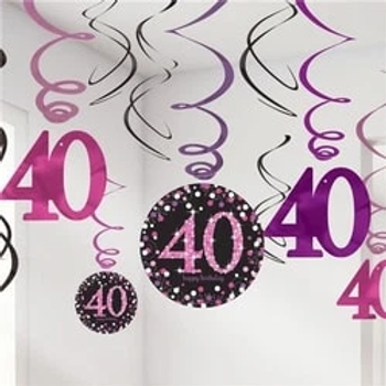 40th Pink Celebration Hanging Swirls