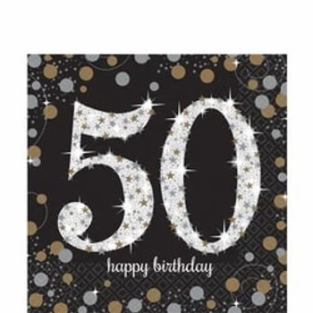 50th Birthday Gold Celebration Party Napkins