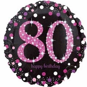 80th Birthday Foil Party Balloon Pink