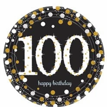 100th Birthday Party Plates Gold