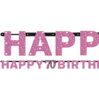 70th Prismatic Party Letter Banner Pink