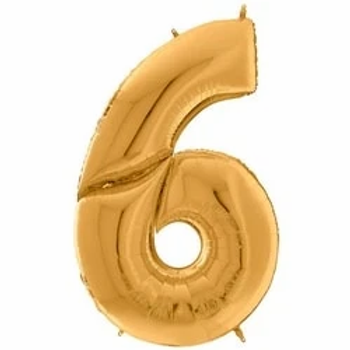 """64"""" Foil Number 6 Balloon Gold"""