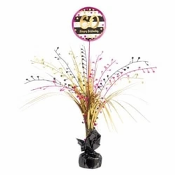60th Birthday Pink & Gold Table Centrepiece