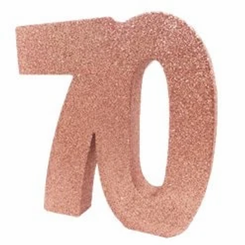 70th Birthday Number Centrepiece Rose Gold