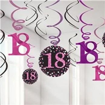 18th Pink Celebration Party Hanging Swirls