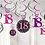 18th Celebration Pink And Black Party Hanging Swirls