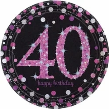 40th Birthday Pink Celebration Party Plates
