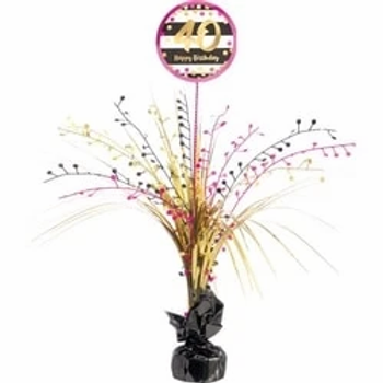 40th Birthday Party Foil Pink & Gold Table Centrepiece Decoration