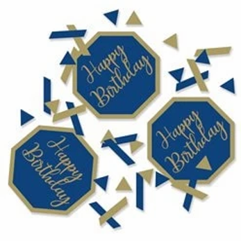 Happy Birthday Navy And Gold Table Confetti