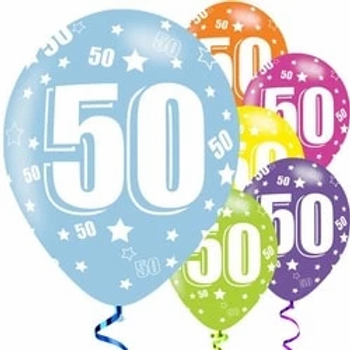 50th Birthday Assorted Latex Party Balloons