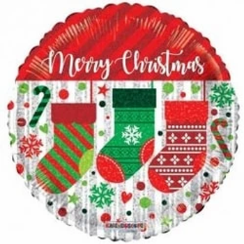 "Merry Christmas Stockings Round Shape 18"" Foil Balloon"
