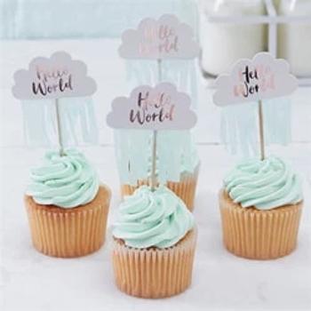 Hello World Rose Gold Cupcake Picks