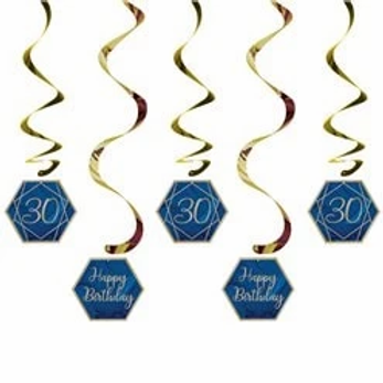 30th Navy And Gold Birthday Hanging Swirls