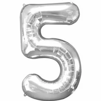 """Silver 34"""" Foil Number 5 Balloon"""