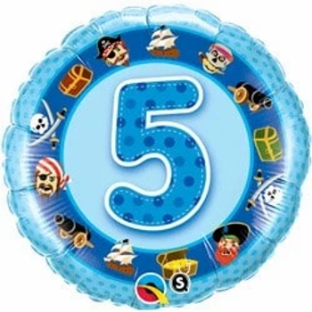 "Age 5 Blue Pirates 18"" Foil Balloon"