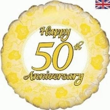 "Happy 50th Anniversary Round Shape 18"" Foil Balloon"