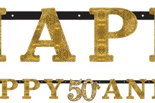 50th Gold Sparkling Wedding Anniversary Letter Banner