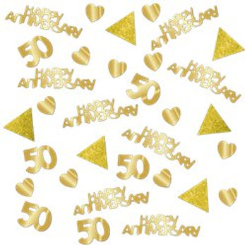 50th Gold Sparkling Wedding Anniversary Table Confetti