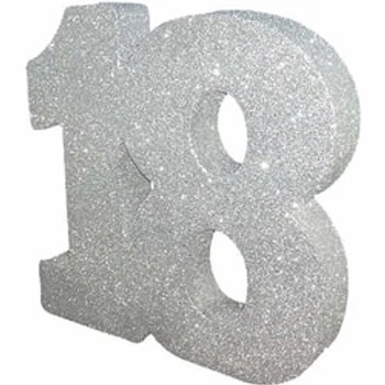 18th Silver Number Table Centrepiece