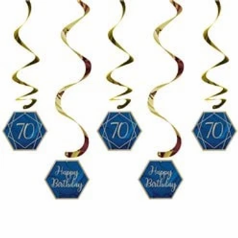 70th Navy And Gold Hanging Swirls