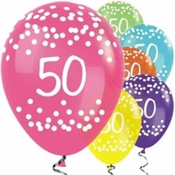 50th Tropical Mix Dots Balloons
