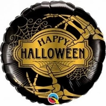 "Happy Halloween Golden Skeleton Foil Balloon 18"""