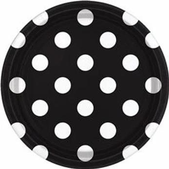 Black Polka Dot Paper Plates