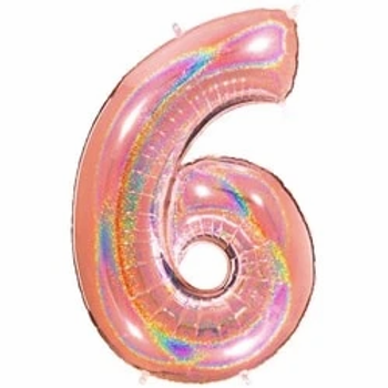 "Glitter Rose Gold 40"" Foil Number 6 Balloon"