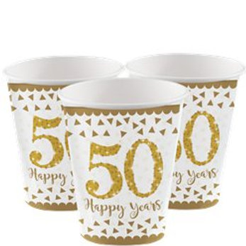 50th Gold Sparkling Wedding Anniversary Cups