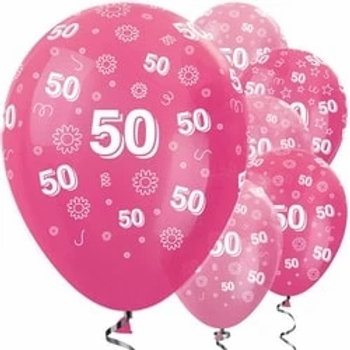 50th Birthday Pink Mix Flowers Latex Balloons