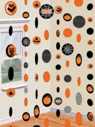 Halloween Orange & Black Paper String Decorations