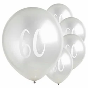 60th Silver Latex Party Balloons